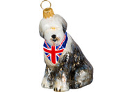 Old English Sheepdog Ornament Union Jack Bandana
