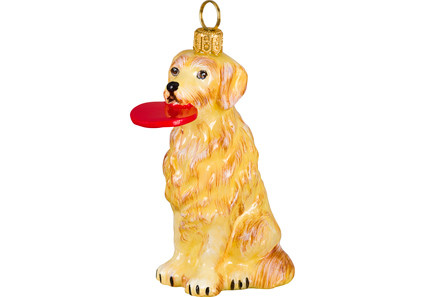 golden retriever glass christmas ornament with frisbee