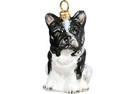 French Bulldog Glass Christmas Ornament (Black and White)