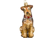 Airedale Glass Christmas Ornament with Collar