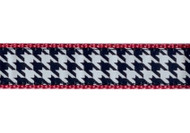 Houndstooth on Raspberry Dog Collar and Leash