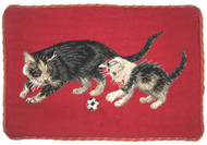Cat Needlepoint Pillow (Black Cats on Red)
