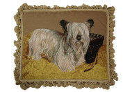 Skye Terrier Needlepoint Pillow