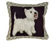 Westie Needlepoint Pillow (on Black)