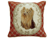 Yorkie Needlepoint Pillow (on Red)