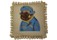 Pug Boy in Blue Jacket Needlepoint Pillow