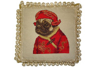 Pug Boy in Red Jacket Needlepoint Pillow