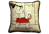 Bichon Frise in Red Coat Needlepoint Pillow