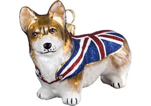 corgi in union jack sweater christmas ornament - Corgi Christmas Ornaments