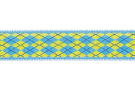 Argyle Dog Collar and Leash (Light Blue and Yellow)