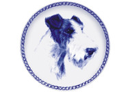 Wire Fox Terrier Face Danish Blue Dog Plate