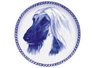 Afghan Face Danish Blue Dog Plate