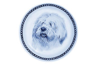 Old English Sheepdog Face Danish Blue Dog Plate (# 2)