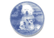 Old English Sheepdog Puppy Danish Blue Dog Plate