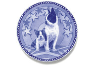 Boston Terrier Puppy Danish Blue Dog Plate