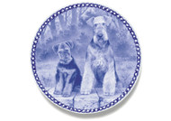Airedale Puppy Danish Blue Dog Plate