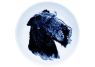 Airedale Terrier Face Danish Blue Dog Plate