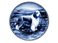 Bearded Collie Danish Blue Dog Plate