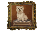 westie on bench needlepoint pillow