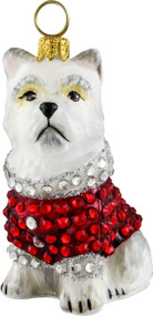 Westie with Crystal Encrusted Coat Ornament