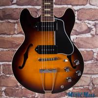 2015 Gibson Memphis ES-390 Figured P-90 Hollowbody Electric Guitar Dark Burst 5726