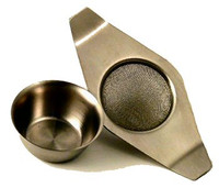 Winged Stainless Steel Tea Strainer with Drip Bowl
