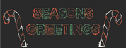 Seasons Greetings Sign with 2 Candy Canes