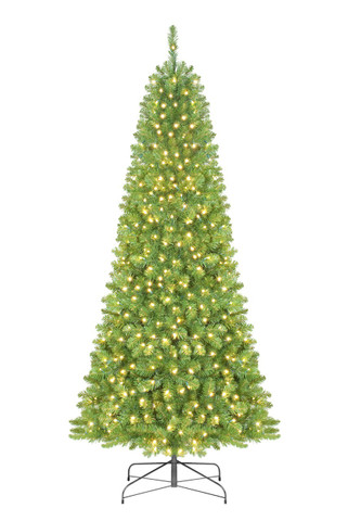 """This pre-lit, 5', 6' 6"""", 7' 6"""", 9' or 12' Yukon fir slender tree is sure to become a holiday decorating focal point. Crafted with exceptional quality, beauty and convenience, the tree features green, commercial-grade PVC and strong, metal hinged branch construction. It comes pre-lit with 105, 330, 365, 575 or 750 5mm wide angle warm white LEDs and features 310, 597, 861, 1,373 or 2,843 tips. If one bulb burns out, the other light strands remain lit and spare bulbs are included. Traditional and slender in shape, and lush green in color, this tree can withstand the outdoors and bear the weight of heavy ornaments. The 5' tree comes with a sturdy planter and all other trees come with a metal tree stand for easy setup."""