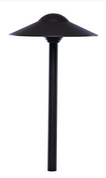 "Sollos PDO083-TZ-15, dome hat path light with a architectural aluminum housing.  Clear tempered glass.  8"" ground stake included. A T3 bi-pin 20 watt lamp is included."