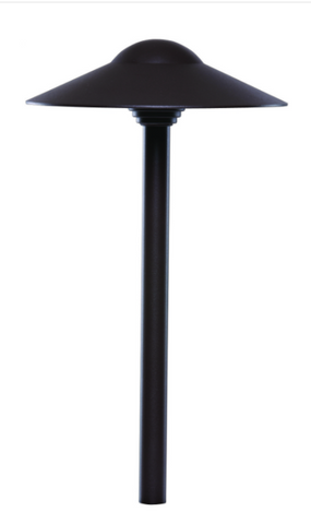 """Sollos PDO083-TZ-15, dome hat path light with a architectural aluminum housing.  Clear tempered glass.  8"""" ground stake included. A T3 bi-pin 20 watt lamp is included."""