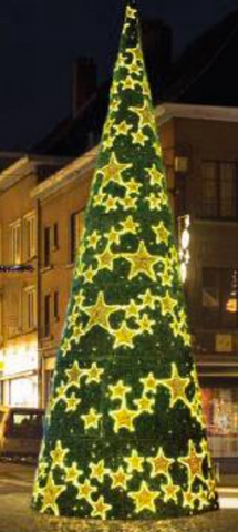 Hollywood Stars Giant Tree is covered with built in gold star decor of various sizes on a evergreen garland background. It is lit with warm white LED bulbs.   This six piece giant tree comes in 21', 27.9', and 34.8'. The 21' tree is 727watts, 27.9' is 1,155watts, and the 34.8' is 1,821watts. All trees are 230volts + 24 volts
