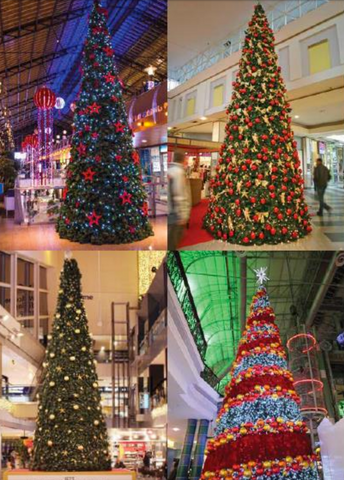 The Hampshire Giant Tree is a cone shaped tree.  The conical Hampshire giant tree is available in seven different sizes and fits in with any decorative theme.   This tree comes in sections that bolt together. The garland is already attached, making a perfect conical shape.  With thick garland, this tree is easy to decorate with lighting and bulbs for any theme this holiday season.