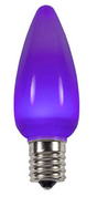 BOX QTY: 25 BULBS CASE QTY: 1000 BULBS Smooth Purple: These lights will have you wanting to bath in purple rain. Prince would approve of the smooth soothing color of these purple LED bulbs.  The classic style and high quality of these bulbs require low to zero maintenance. The low energy using LED's generate a vibrant glow that lasts seven times longer than other bulbs. When accented with yellow and green LED's these bulbs will make your party feel like Bourbon Street this Mardi Gras.   •	Each bulb has three professional grade LED's inside to create a bright glow.  •	The low watt LED bulbs allow for you to make longer runs while using low amounts of energy.  •	The bulbs remain cool to the touch because of the low energy LED bulbs inside.  •	These durable smooth textured bulbs have a 60,000 hour lifespan •	We use nickel platted bases instead of brass to prevent corrosion. •	Now you can get an LED C9 lamp without the faceted caps. These lamps remind us of the old opaque/ceramic bulbs of the past. •	Indoor and Outdoor use *Per bulb price varies per bulb color*