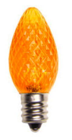 BOX QTY: 25 BULBS CASE QTY: 1000 BULBS Retro Fit Orange: Scare off all the ghosts and goblins this Halloween with these vibrant orange LED'S. The classic style and high quality of these bulbs require low to zero maintenance. The low energy using LED's generate a vibrant glow that lasts seven times longer than other bulbs. Put these bulbs with green and white bulbs and you will feel the luck of the Irish running through your home or business.   •Each bulb has three professional grade LED's inside to create a bright glow. •The low watt LED bulbs allow for you to make longer runs while using low amounts of energy. •The bulbs remain cool to the touch because of the low energy LED bulbs inside. •These durable smooth textured bulbs have a 60,000 hour lifespan •We use nickel platted bases instead of brass to prevent corrosion. •Now you can get an LED C7 lamp without the faceted caps.  •Indoor and Outdoor use *Per bulb price varies per bulb color*