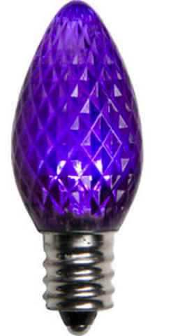 BOX QTY: 25 BULBS CASE QTY: 1000 BULBS Retro Fit Purple: Make yourself feel like royalty with the rich purple glow of these LED bulbs. There durable LED bulbs will look great this Mardi Gras when accented with green and yellow bulbs! The low energy using LED's generate a vibrant glow that lasts seven times longer than other bulbs.  •Each bulb has three professional grade LED's inside to create a bright glow. •The low watt LED bulbs allow for you to make longer runs while using low amounts of energy. •The bulbs remain cool to the touch because of the low energy LED bulbs inside. •These durable smooth textured bulbs have a 60,000 hour lifespan •We use nickel platted bases instead of brass to prevent corrosion. •Now you can get an LED C7 lamp without the faceted caps.  •Indoor and Outdoor use *Per bulb price varies per bulb color*