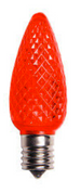 BOX QTY: 25 BULBS CASE QTY: 1000 BULBS Retro Fit Red: Christmas eve can be a dark night, so light your house likes Rudolph's nose this holiday season with these red LED's. Low energy LED's are inside of these very durable bulbs that provide your home, business, or displays with a bright vibrant glow. Accented with green bulbs, these red LED's will make you chant on Dasher, on Dancer, on Prancer and Vixen. On Comet, on Cupid, on Donner and Blitzen!  •	Each bulb has three professional grade LED's inside to create a bright glow.  •	The low watt LED bulbs allow for you to make longer runs while using low amounts of energy.  •	The bulbs remain cool to the touch because of the low energy LED bulbs inside.  •	These durable smooth textured bulbs have a 60,000 hour lifespan •	We use nickel platted bases instead of brass to prevent corrosion. •	Now you can get an LED C9 lamp without the faceted caps. T •	Indoor and Outdoor use *Per bulb price varies per bulb color*