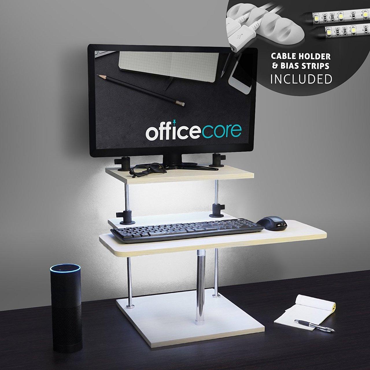 height adjustable standing desk for laptops u0026 desktops with usb bias light