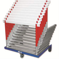 Port-a-Pit Hurdle Cart constructed of blue powder coated steel with 3 heavy duty castors (Holds 10 L-shaped hurdles)
