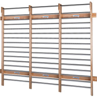 Wall Bars 9' wide x 8' high Chrome Rungs - Triple Section