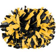 "Black / Light Gold - 6"" Plastic Pom with baton handle"