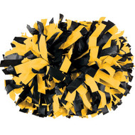 "Black / Light Gold - 6"" Plastic Pom with baton handle"