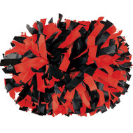 "Black / Scarlet - 6"" Plastic Pom with baton handle"