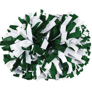 "Dark Green / White - 6"" Plastic Pom with baton handle"