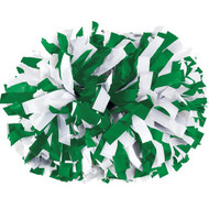 "Kelly Green / White - 6"" Plastic Pom with baton handle"