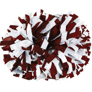 "Maroon / White - 6"" Plastic Pom with baton handle"