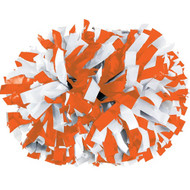"Orange / White - 6"" Plastic Pom with baton handle"