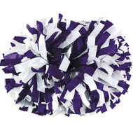 "Purple / White - 6"" Plastic Pom with baton handle"