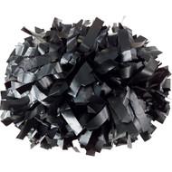 "Black - 6"" Plastic Pom with baton handle"