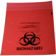 Mueller red biohazard zip lock bag