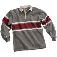 Barbarian Acadia Design Unisex Rugby Hoodie - Oxford/White/Maroon